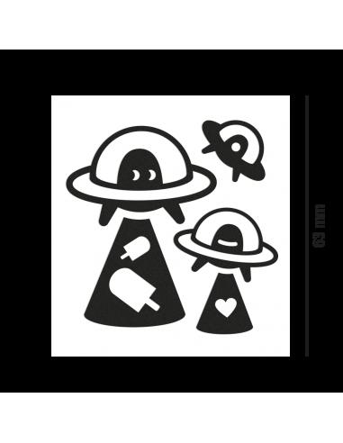Reflektierende Sticker Ufo schwarz