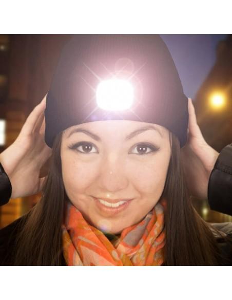Wintermütze mit LED-Licht, grau